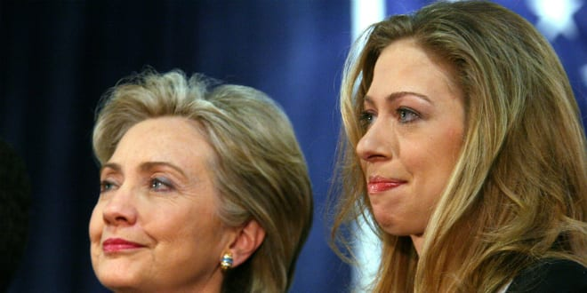 Chelsea Clinton and mother (photo by Krista Kennell via Shutterstock)