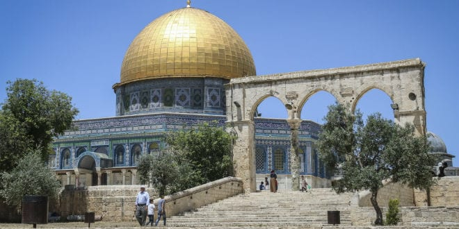 The Temple Mount in the Old City of Jerusalem. (Haytham Shtayeh/Flash90)