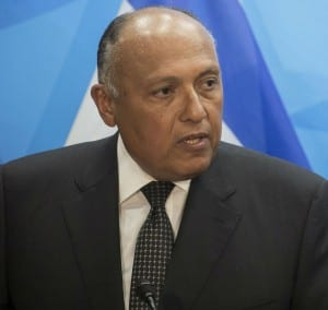 Egypt's Foreign Minister Sameh Shoukry at the Prime Minister's office in Jerusalem (Photo: Hadas Parush/Flash90)