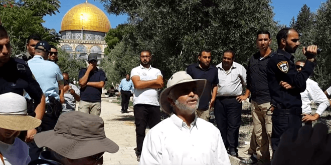 Amihai Ariel stands in front of the Temple Mount. (Photo: Adam Propp)