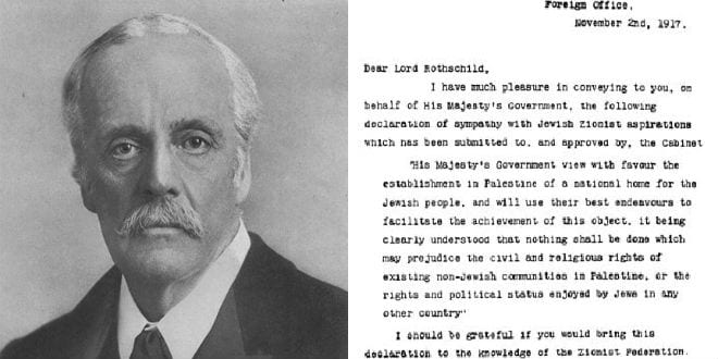 Lord Arthur James Balfour and the Balfour Declaration, which affirmed British support for a Jewish state. (Wikimedia Commons)