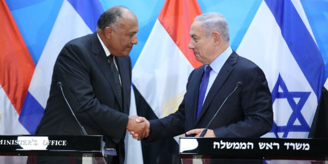 Prime Minister Benjamin Netanyahu holds a press conference with Egyptian Foreign Minister Sameh Shoukry (Photo: Hillel Maeir/TPS)