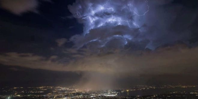An image of clouds hovering over the CERN facility during the AWAKE experiment. (Photo: video screenshot)