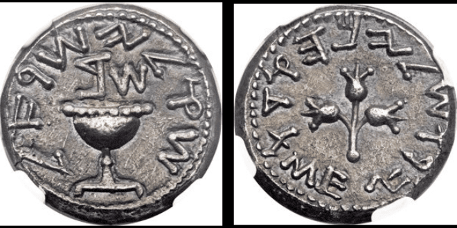 A rare Jewish coin dating to the second century during the time of the Bar Kochba rebellion is up for auction this week. (Photo: Heritage Auctions screenshot)
