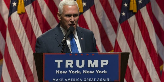 Mike Pence speaks during Donald Trump introduction Governor Mike Pence as running for vice president at Hilton hotel Midtown Manhattan. July 16, 2016. (Photo: lev radin / Shutterstock.com)