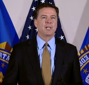 Head of FBI James Comey announces no charges for Clinton. (Screenshot)