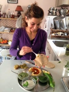 Samantha Siegel fills a pita bread, made from sprouts, will delectable treats. (Photo: Courtesy)
