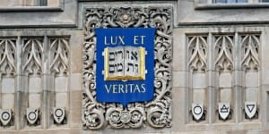 Yale University's seal dates from 1722 when Hebrew was part of a theological education. It appears on many buildings on Yale's campus, as seen in New Haven in June 2015. (Photo: Pete Spiro / Shutterstock.com)
