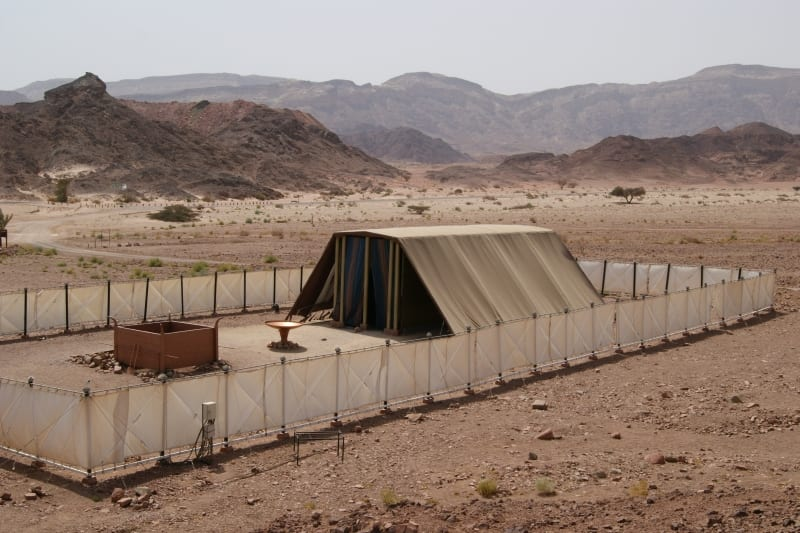 Model of the Biblical Tabernacle (Tent of Meeting) in Israel's Timna Park. (Wikimedia Commons)