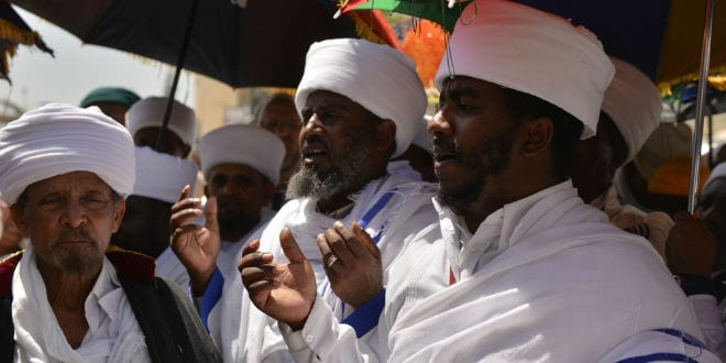 Religious leaders of the Ethiopian Jews during Passover prayers near Wailing Wall, Apr. 17, 2014.  (oris Diakovsky / Shutterstock.com)