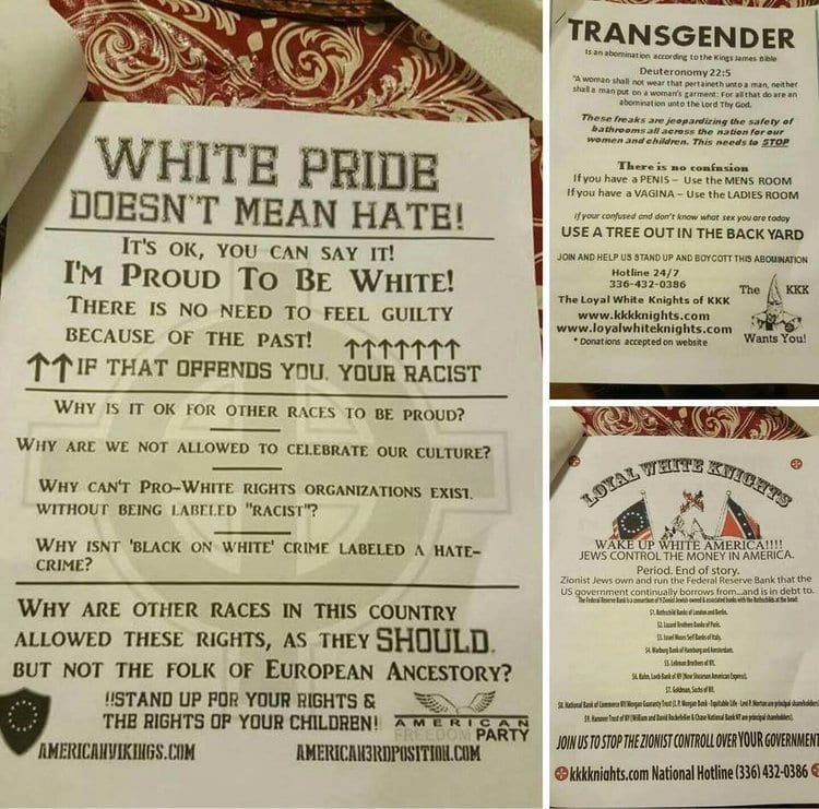 """These flyers distributed by the Ku Klux Klan said that """"Jews control money in America""""(left bottom), and also insulted African Americans and the LGBTQ community. (Credit: The ADL.)"""