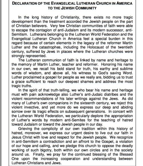 """Text of the 1994 """"Declaration of the Evangelical Lutheran Church in North America to the Jewish Community,"""" in which the Lutheran Church repudiated Martin Luther's anti-Semitic writings. (Screenshot from ELCA.org)"""