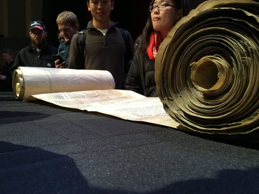The Torah scroll, displayed at Purdue University. (Ratio Christi Facebook Page)