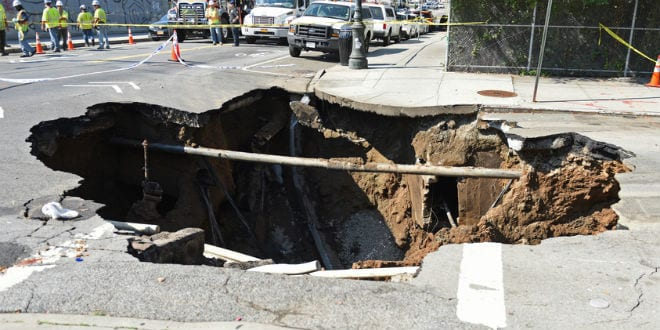 Illustrative: a sinkhole in New York City. (A Katz / Shutterstock.com