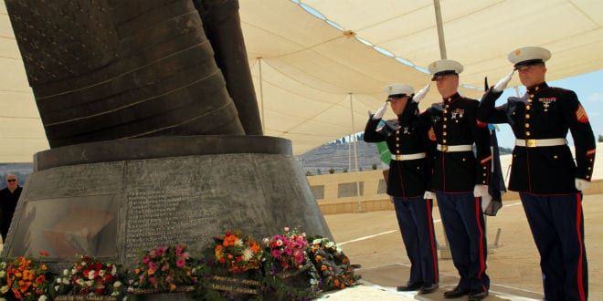 Illustrative: American Marines and Israeli fighters beside the bronze American flag during the 11th anniversary memorial ceremony for the victims of the 9/11 attacks in the US at a memorial monument in Jerusalem Hills on September 11, 2012. (Yoav Ari Dudkevitch / FLASH90)
