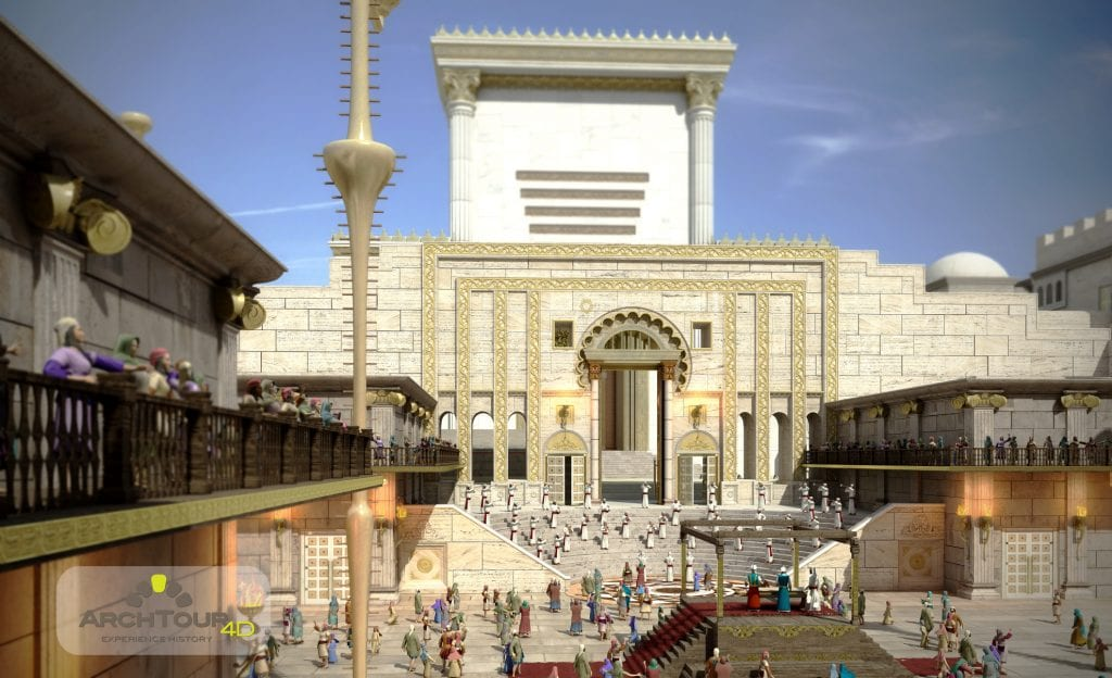 Virtual reality depiction of the Holy Temple, showing the courtyard. (Courtesy ArchTour)
