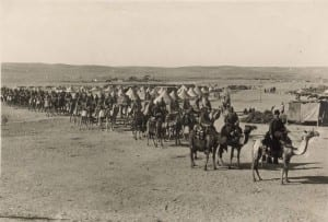 "The Turkish ""Camel Corps"" in Beersheba, 1915. (Wikimedia Commons)"