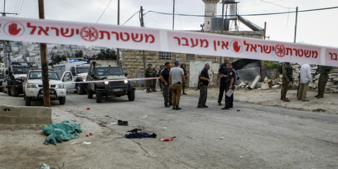 Scene of terror attack, Hebron (Photo by Wisam Hashlamoun via Flash 90)