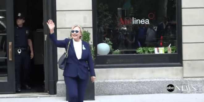 """Hillary Clinton waves and says she's """"feeling great"""" after collapsing at a 9/11 event. (YouTube Screenshot)"""