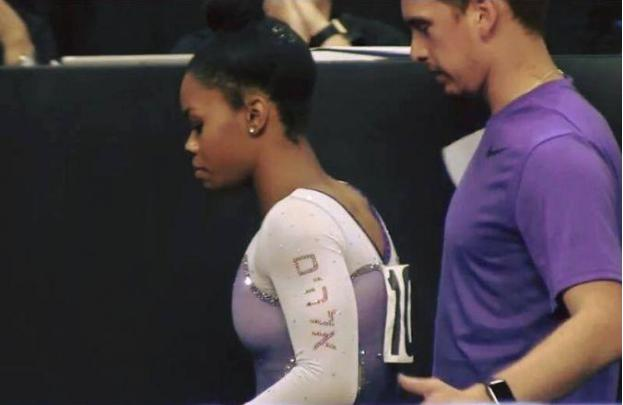 Douglas wore a leotard with the name of God written in Hebrew on it.