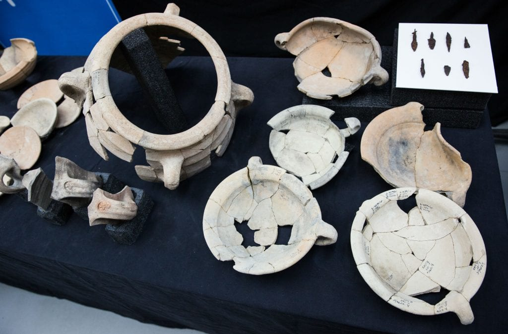 Findings found at the Tel Lachish site. (Hillel Maeir/TPS)