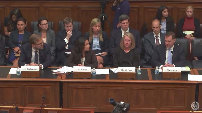 "Administration witnesses before the Subcommittee on Oversight and Investigations (Committee on Financial Services) hearing on ""Fueling Terror: The Dangers of Ransom Payments to Iran,"" Sept. 8, 2016. (Screenshot)"