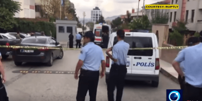 The scene outside Israel's embassy in Ankara, Turkey after a man attempted to rush it with a knife, September 21. 2016. (Video screenshot)