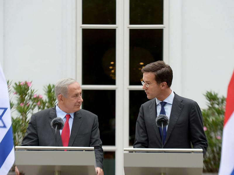 PM Netanyahu at the joint press conference with Dutch PM Mark Rutte, September 6, 2016. (GPO/ Amos Ben Gershom)