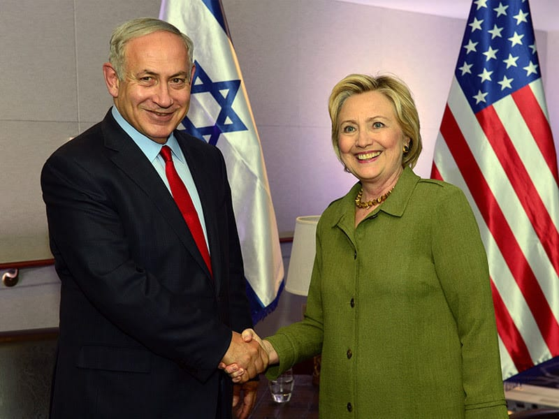 PM Netanyahu with Democratic Presidential candidate and former Secretary of State Hillary Clinton in New York, September 25, 2016. (GPO/Kobi Gideon)