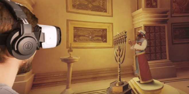 Virtual reality depiction of the High Priest lighting the menorah inside the Holy Temple. (Video screenshot)