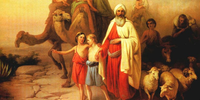 Abraham journeying to the land of Israel with his sons, Isaac and Ishmael. (József Molnár, 1850/Wikimedia Commons)