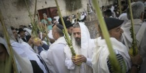 Jewish worshippers wave the Lulav and Etrog in front of the Western Wall during the Jewish holiday of Sukkot, October 19, 2016. (Photo by Yonatan Sindel/Flash90)