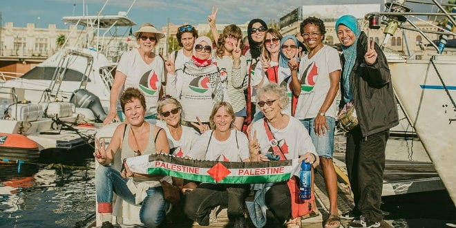 Women's Boat to Gaza participants in Messina. (Flickr)