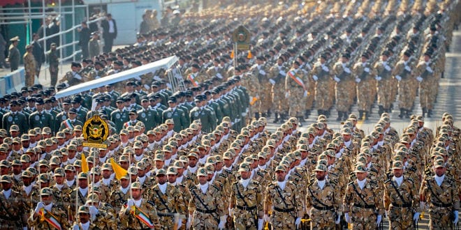 Islamic Republic of Iran Army soldiers and pilots marching in front of Mahmoud Ahmadinejad during Islamic Republic of Iran Army Day, April 17. 2012. (Wikimedia Commons/Hosein Velayati)