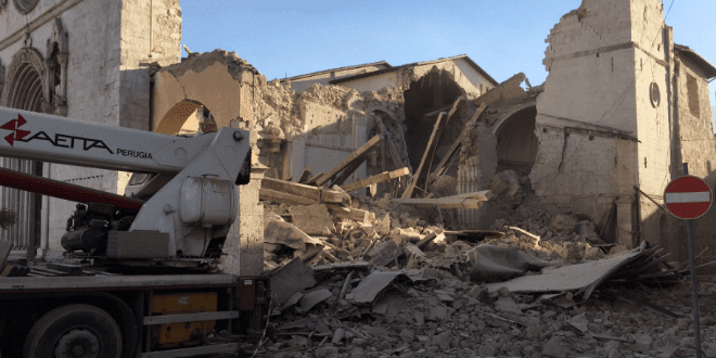 The Basilica of St. Benedict in Norcia, Italy was destroyed in an earthquake on October 30, 2016. (Twitter: The Monks of Norcia)