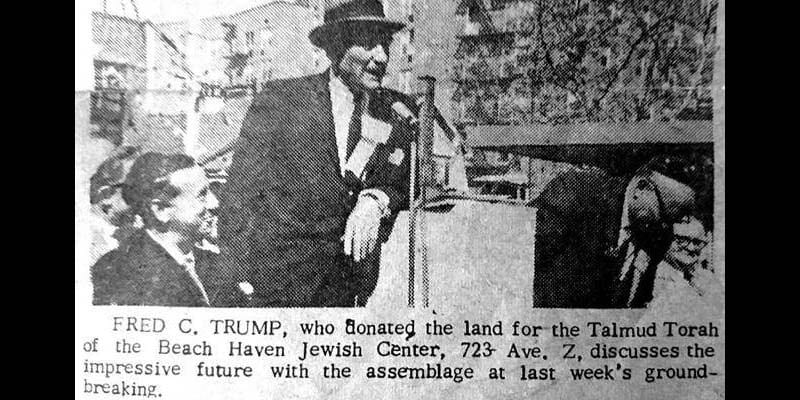 Fred Trump at the groundbreaking of the Talmud Torah center  (Screenshot/Kikar Hashabbat)