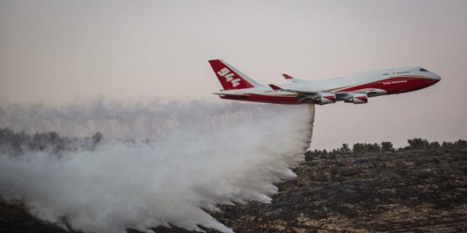 US 747 Supertanker helps to extinguish a forest fire   near Nataf, outside Jerusalem on November 26, 2016. (Photo by Hadas Parush/Flash90)