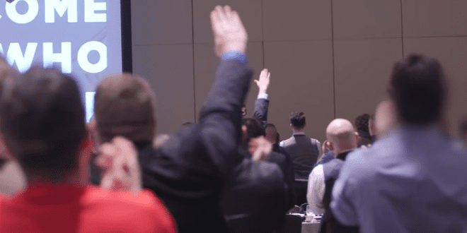 Attendees at the alt-right conference in Washington, DC are seen giving the Nazi salute to speaker Richard Spencer, November 21. (YouTube Screenshot)
