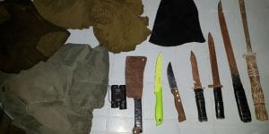 Knives, weapons and uniforms seized in overnight raids, November 29, 2016. (IDF Spokesperson)