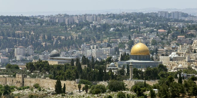 A view of the Temple Mount and Dome of the Rock from Mount Scopus (Andrew McIntire/TPS)