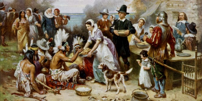 The First Thanksgiving 1621, oil on canvas by Jean Leon Gerome Ferris (1899). The painting shows common misconceptions about the event that persist to modern times: Pilgrims did not wear such outfits, and the Wampanoag are dressed in the style of Native Americans from the Great Plains. (Wikimedia Commons)