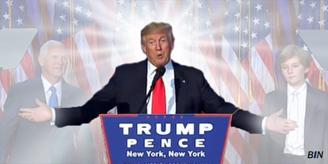 Donald Trump's acceptance speech after winning the election on November 8, 2016. (Breaking Israel News)