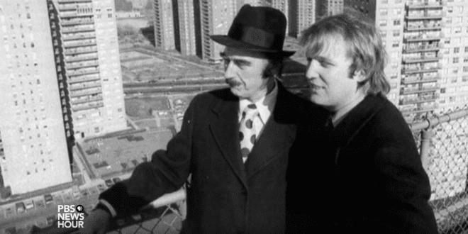 Donald Trump (r) with his father, Fred Trump. (PBS Youtube screenshot)
