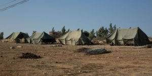The army erects tents in Amona to prepare for evicting residents on December 25. (Hillel Maeir/TPS)
