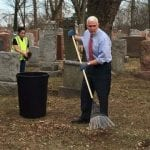 VP Pence Visits Vandalized Missouri Jewish Cemetery, Pitches in on Repair Effort