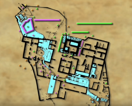 c78123e99ed3 A map of the Qumran caves and possible locations of Temple treasures.  (Courtesy Jim Barfield)