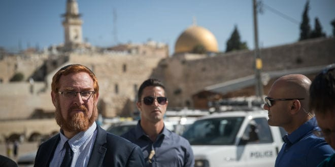 MK Yehudah Glick at the Western Wall Plaza after visiting the Temple Mount compound in Jerusalem's Old City.
