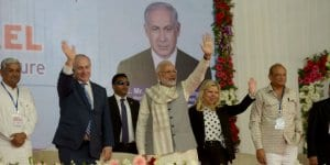 Israeli Prime Minister Benjamin Netanyahu (second from left) visits the iCreate Centre for Entrepreneurship and Technology with Indian Prime Minister Narendra Modi on Wednesday in the Gujarat province. Credit: Avi Ohayon/GPO.