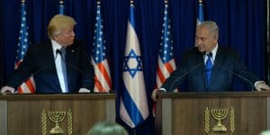 President Donald Trump and Prime Minister Benjamin Netanyahu make a joint appearance in Jerusalem on May 22, 2017.