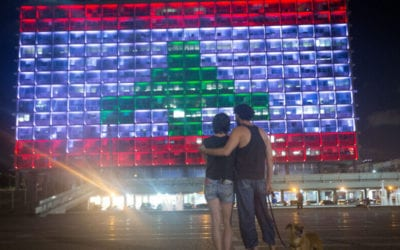 Tel Aviv lights up municipality building in message of solidarity to Lebanon